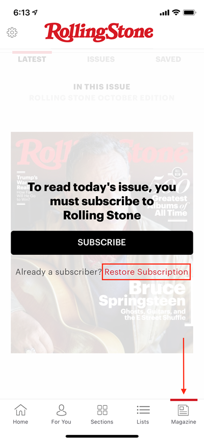 Visual indication of where to find Restore link under Magazine section, under Subscribe button